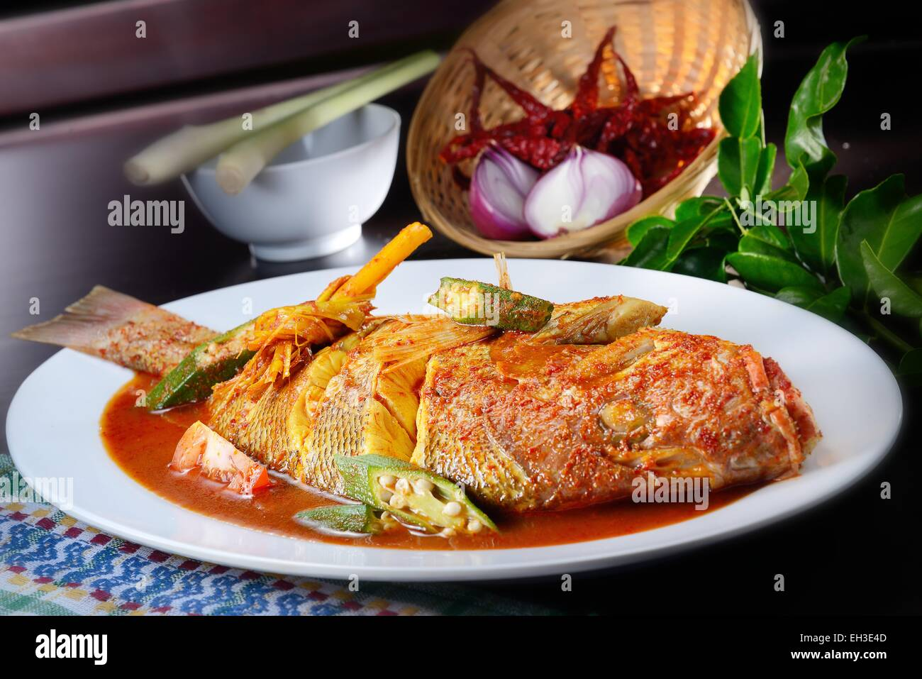 Red snapper cook with spicy sambal Stock Photo