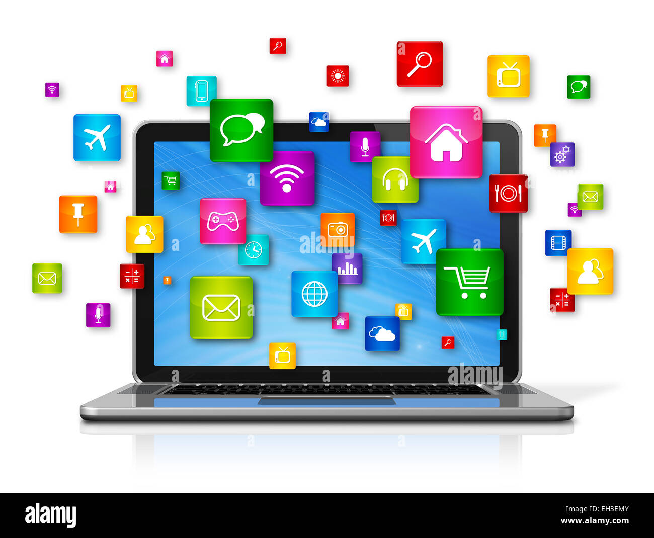 3d laptop computer with flying apps icons - isolated on white stock