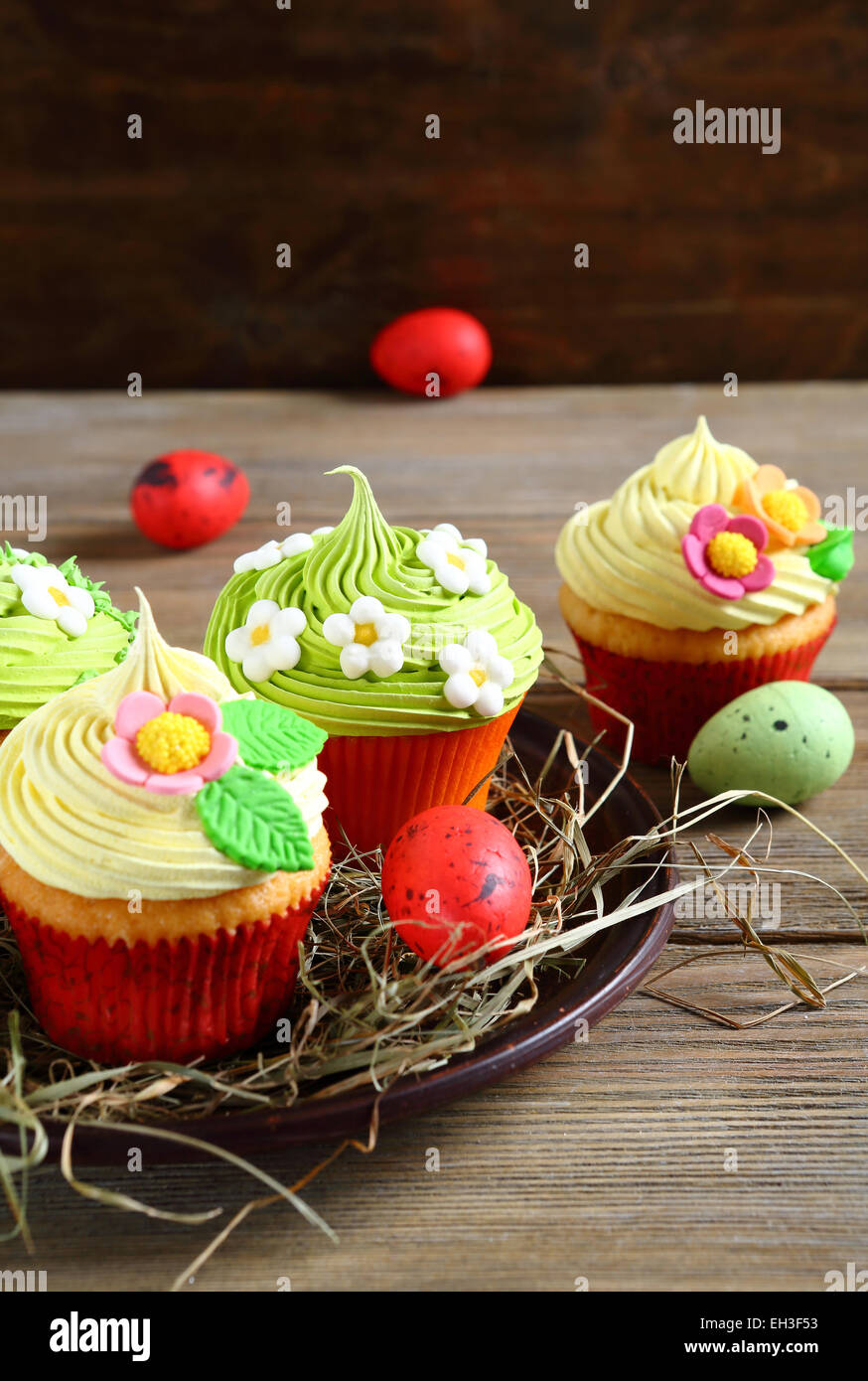 Easter cupcakes and eggs, festive food - Stock Image