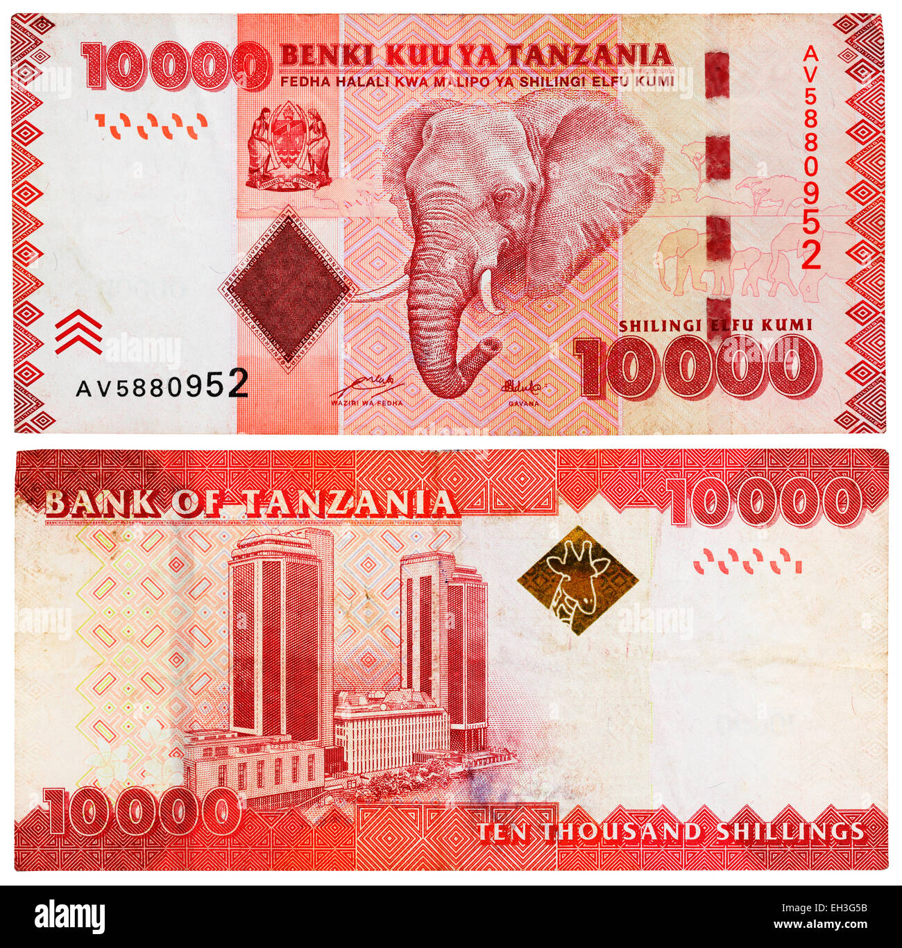 10000 shillings banknote, Elephant, building in Dar es Salaam, Tanzania, 2010 - Stock Image