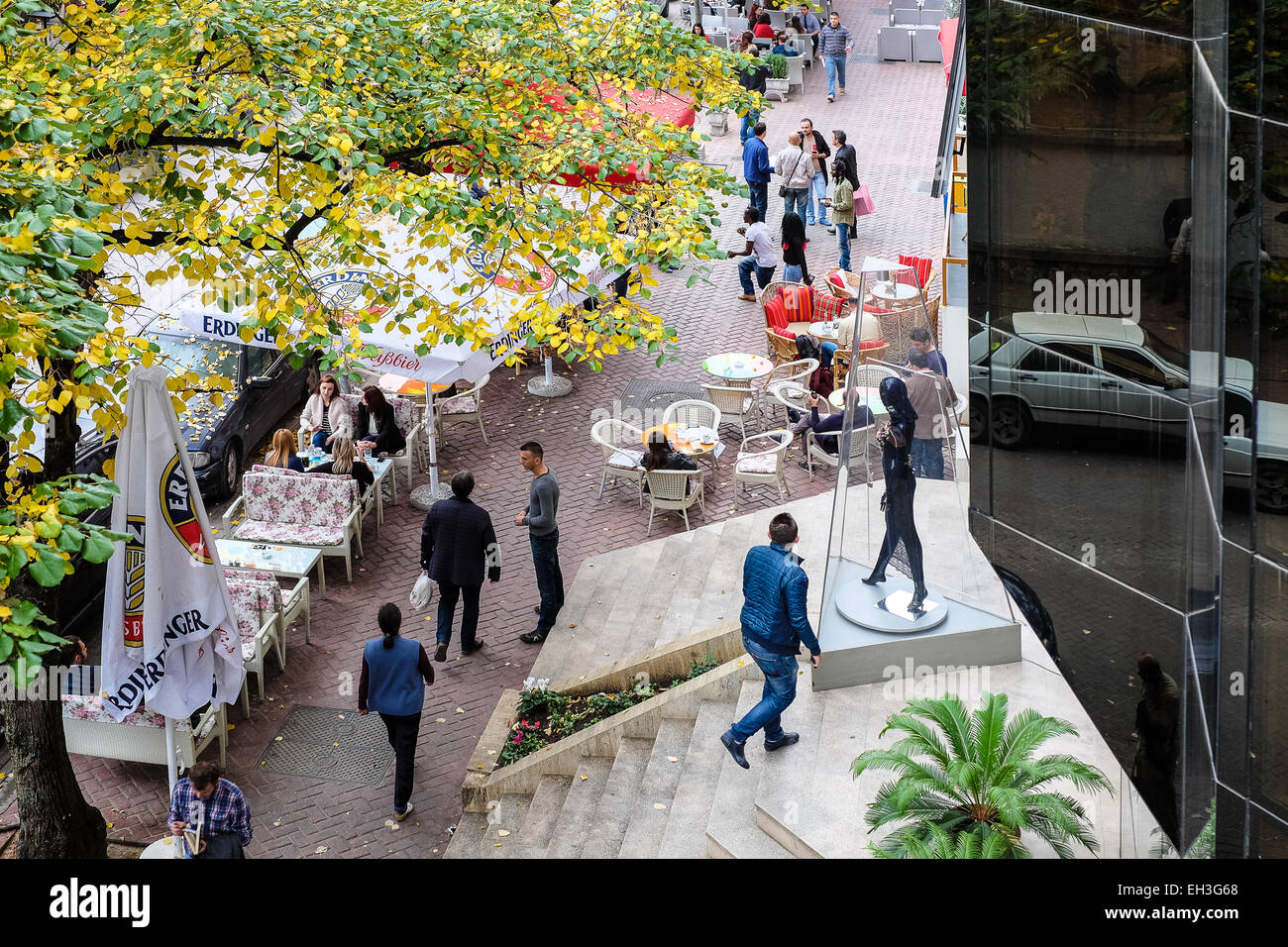 Albania, Tirana, Blloku neighbourhood, in the middle of the city, a zone popular for numerous cafes, bars and vivid - Stock Image