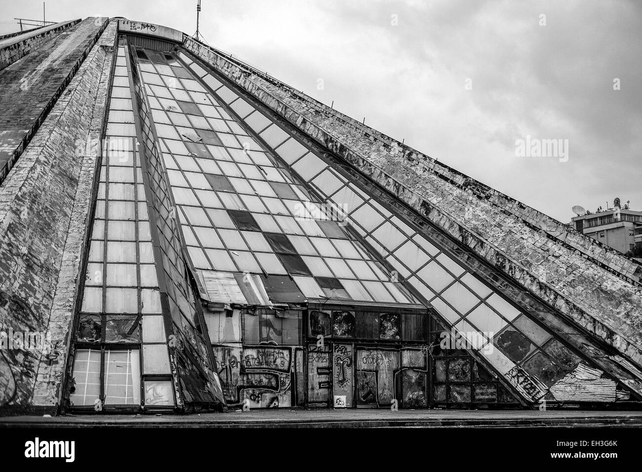 Albania, Tirana, The Pyramid (La Piramida). Built as a mausoleum for the communist dictator Enver Hoxha has been - Stock Image