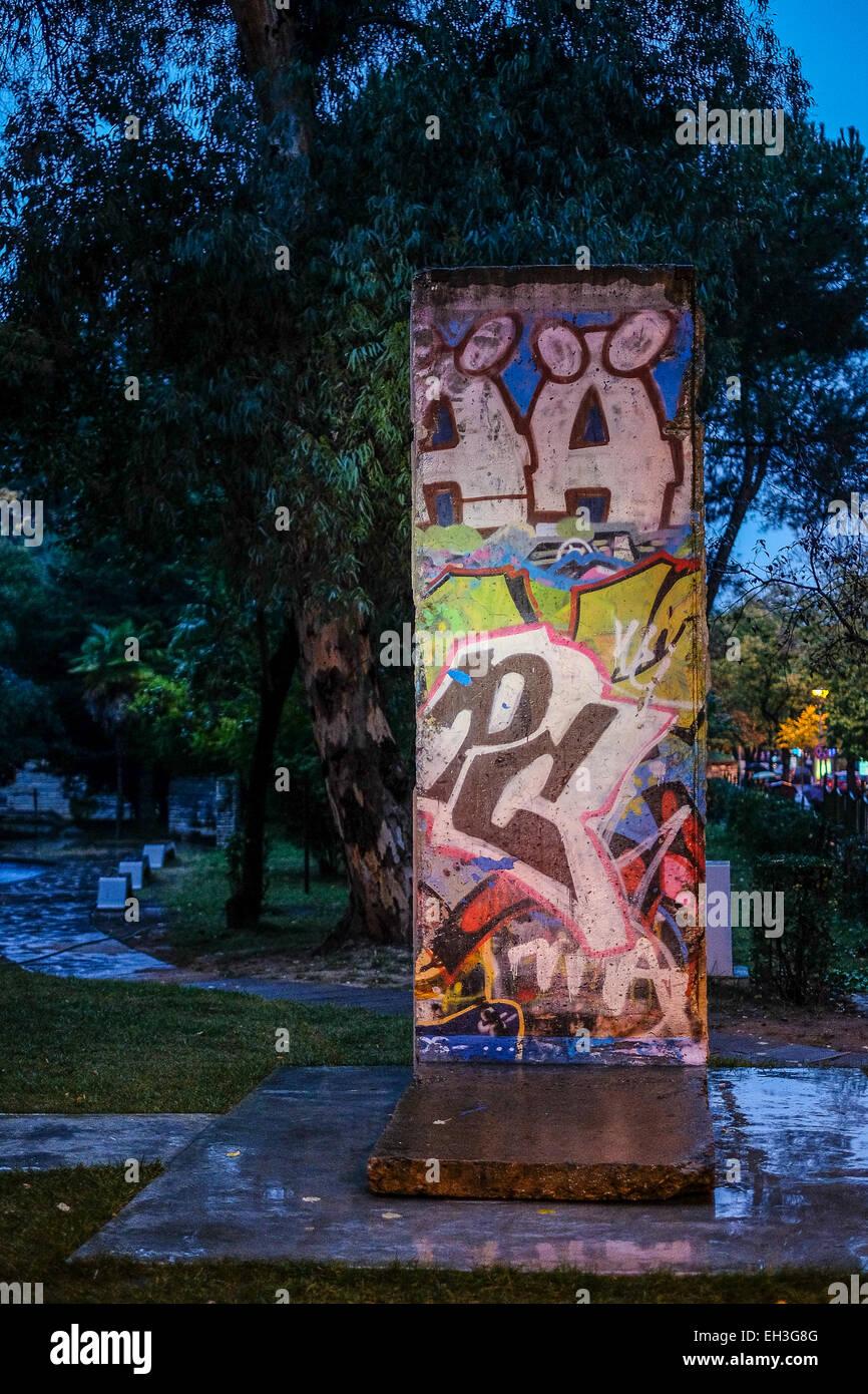 Albania, Tirana. A piece of the Berlin Wall - Stock Image