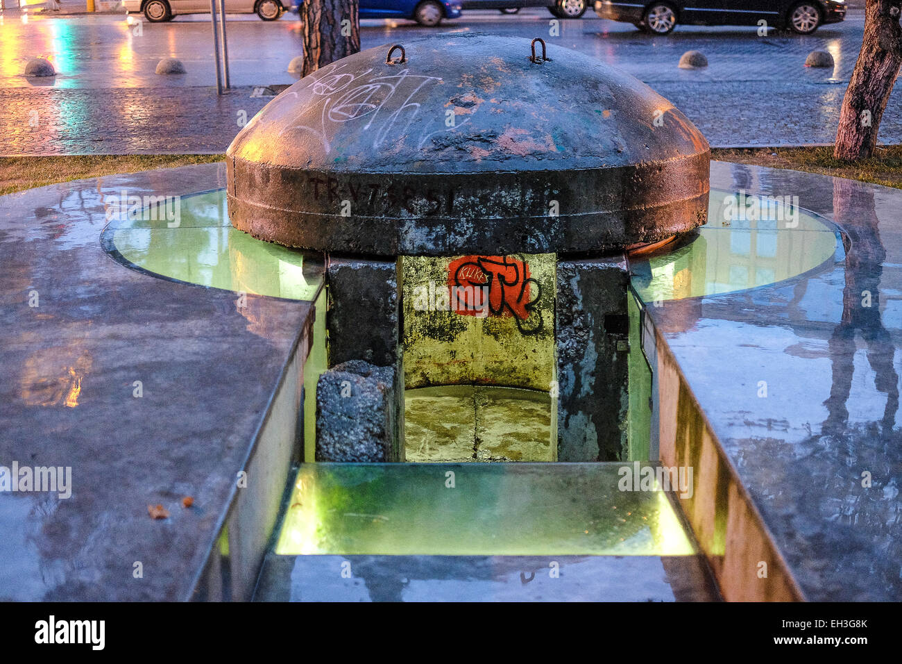 Albania, Tirana. A  sentinel bunker at the entrance of the Blloku neighbourhood, in the middle of the city, a zone - Stock Image
