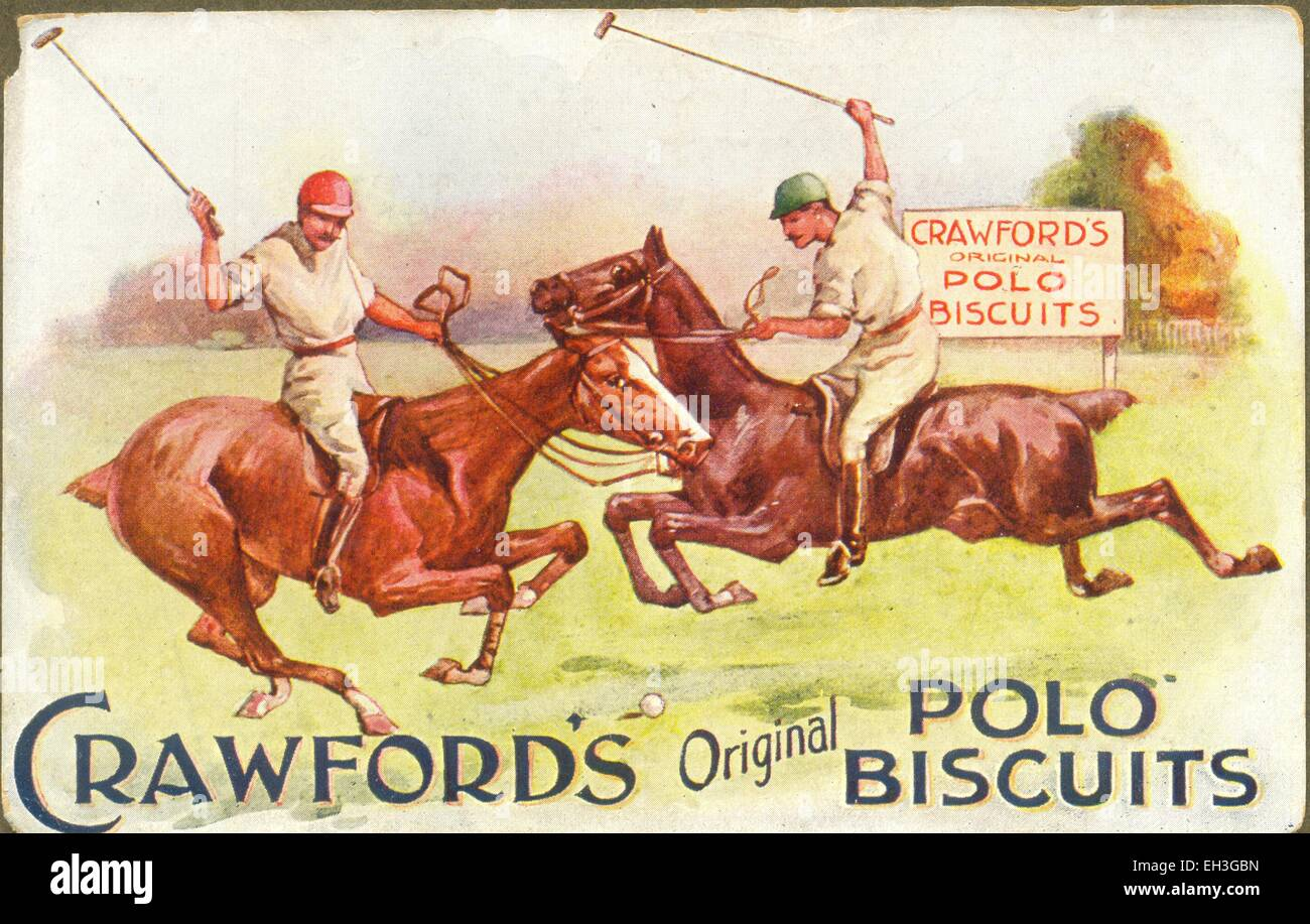 Advertising postcard for Crawford's Polo Biscuits - Stock Image