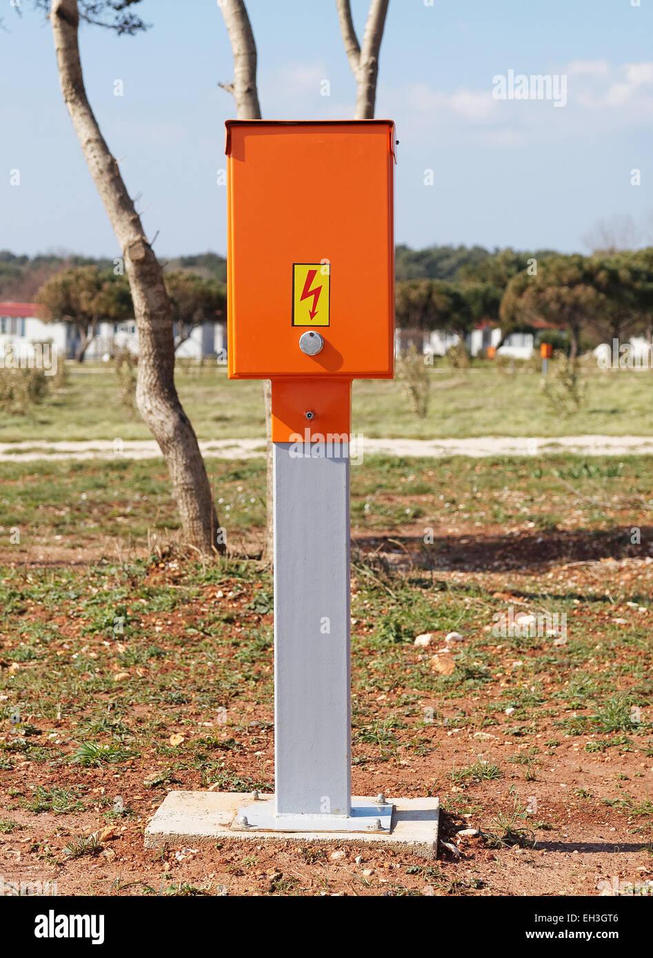 electric power control box in campsite Stock Photo