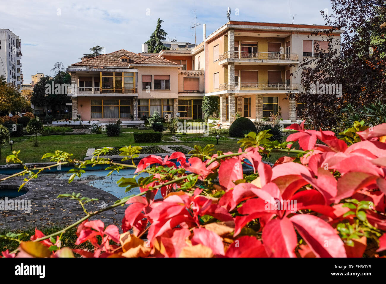 Albania, Tirana, the Villa of the dictator Enver Hoxha in the Blloku - Stock Image