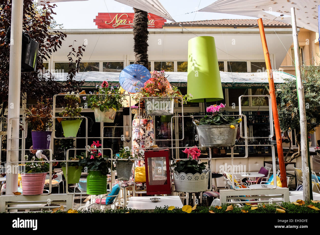 Albania, Tirana, restaurant in the Blloku neighbourhood. I the middle of the city, is a zone popular for numerous - Stock Image