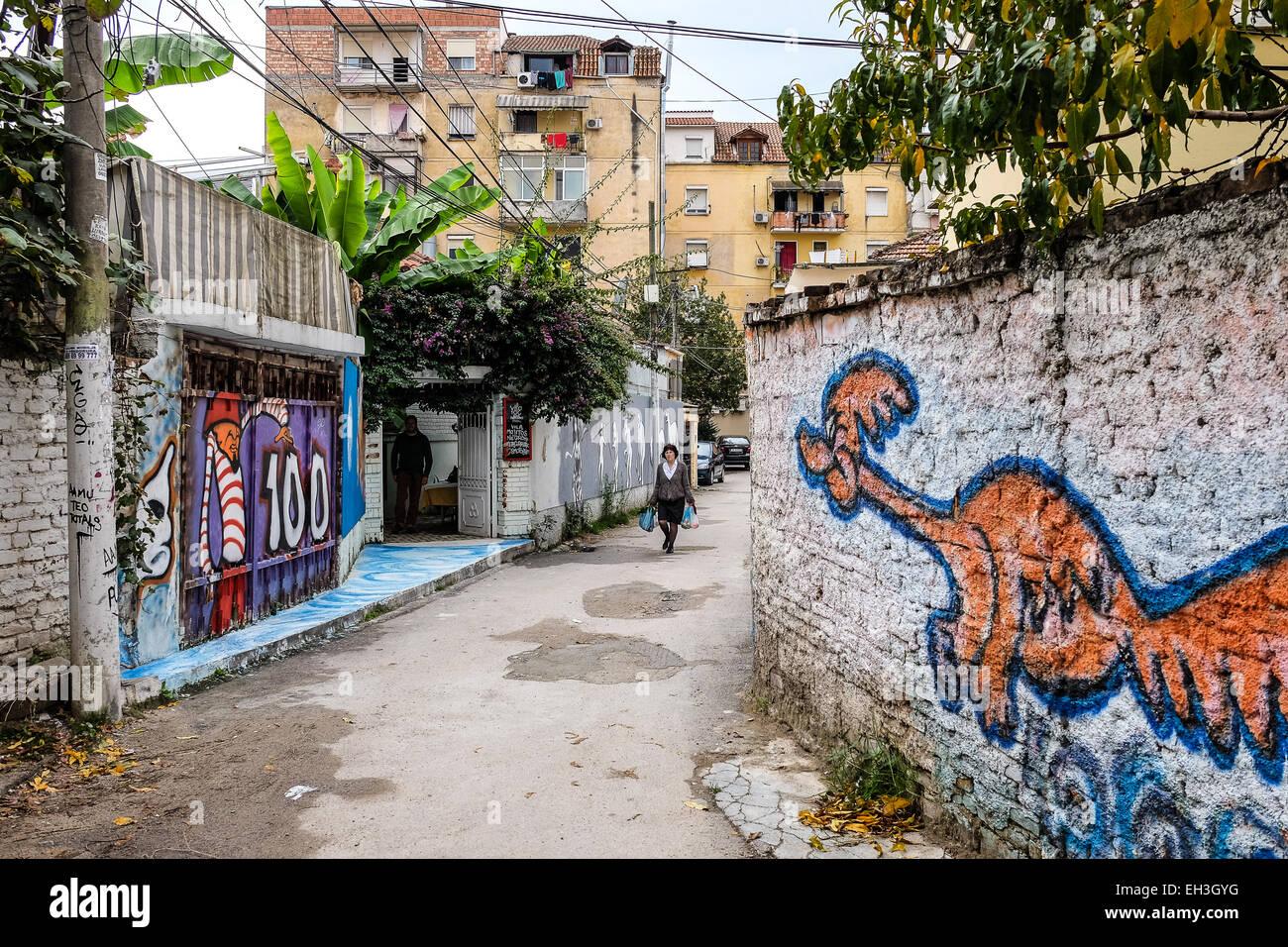 Albania, Tirana, graffiti - Stock Image