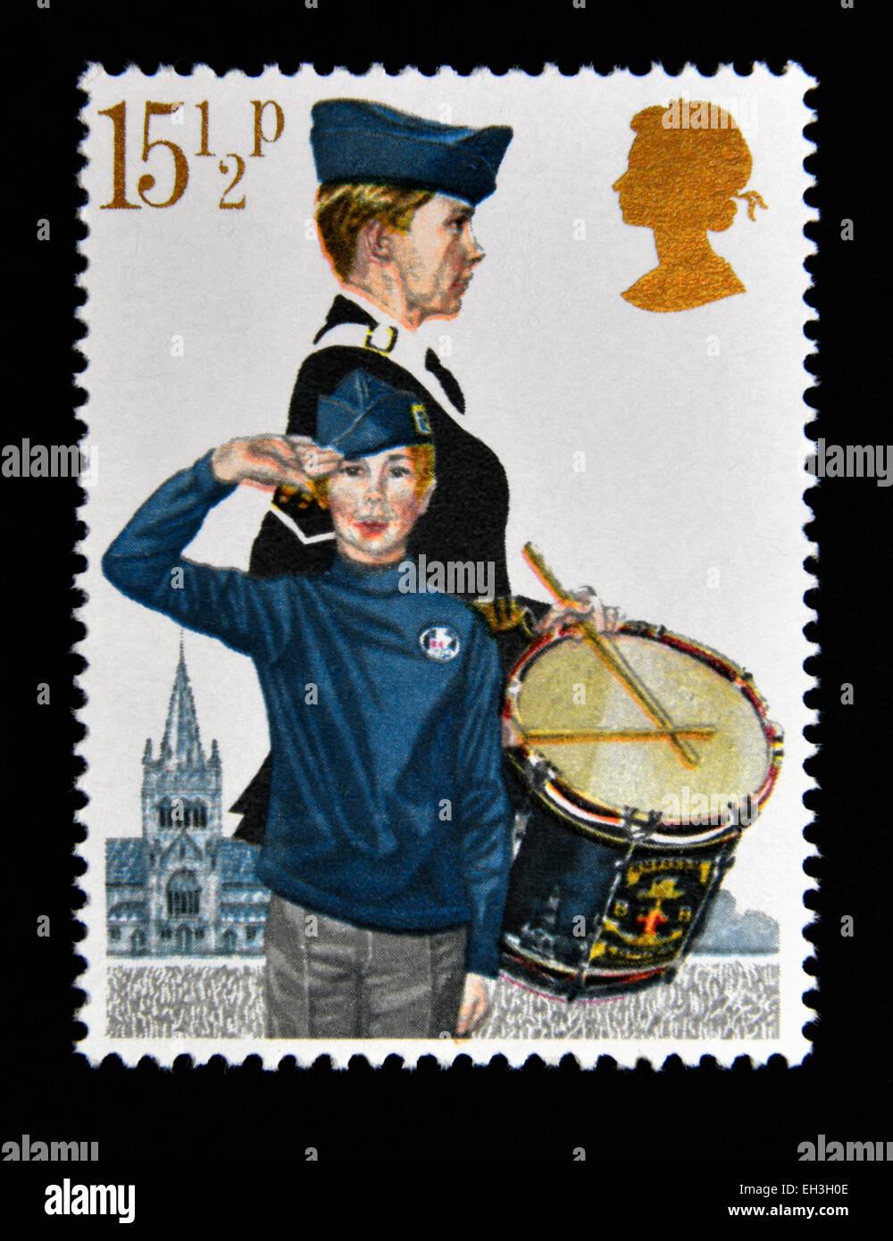 Postage stamp. Great Britain. Queen Elizabeth II. 1982. Youth Organisations. Boys' Brigade. - Stock Image