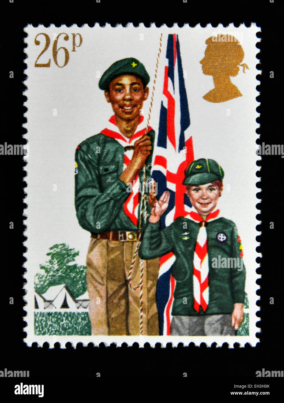 Postage stamp. Great Britain. Queen Elizabeth II. 1982. Youth Organisations. Boy Scout Movement. - Stock Image