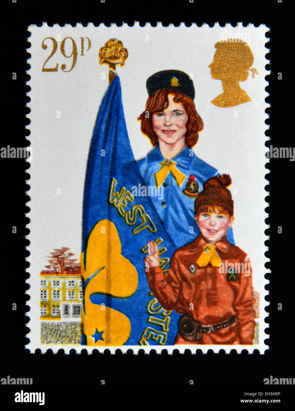 Postage stamp. Great Britain. Queen Elizabeth II. 1982. Youth Organisations. Girl Guide Movement. 29p. - Stock Image