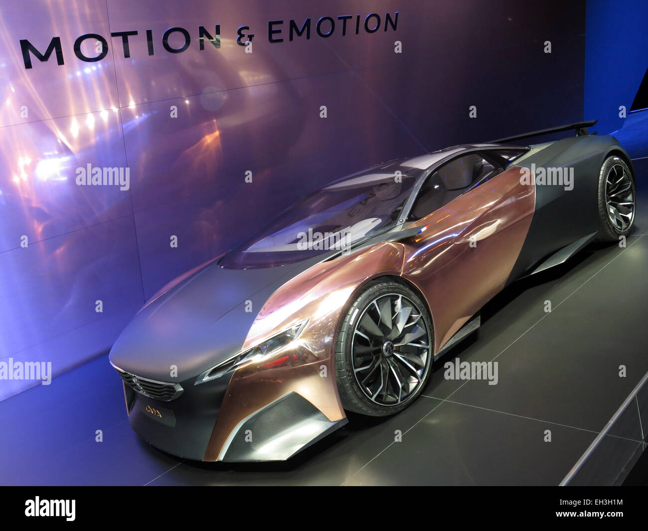Peugeot Concept Car in the stand in Geneva Motor Show 2015 - Stock Image