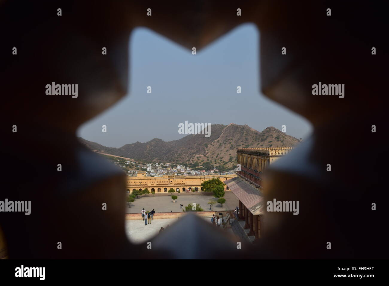 View of Amer Fort / Palace through a star-hole. - Stock Image