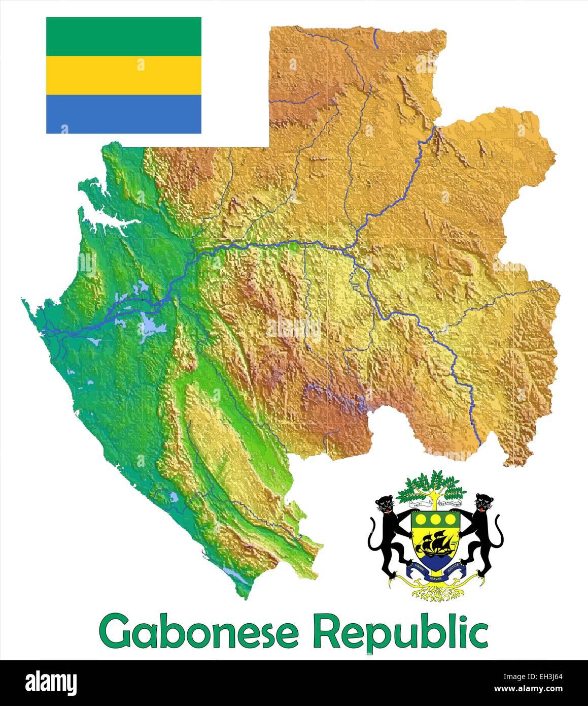 Gabon Africa Map Flag Coat Stock Vector Art Illustration Vector
