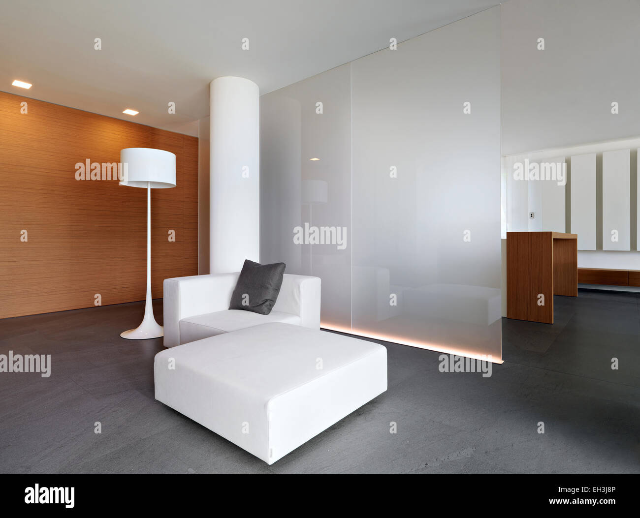 white leather sofa for a modern living room and wood paneling Stock ...