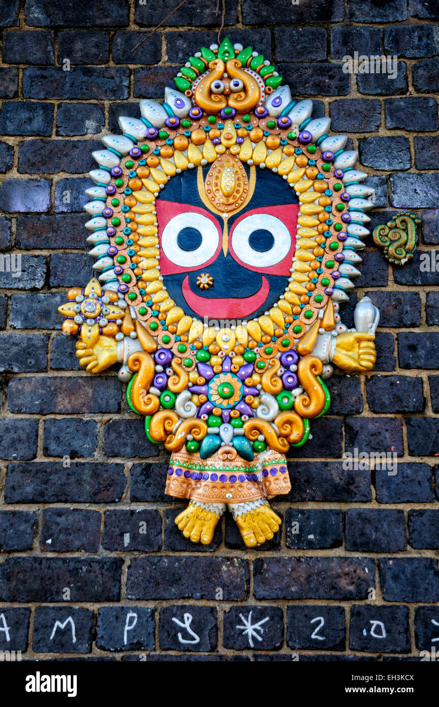 Multiculturalism in London, England: Traditional Bangladeshi decoration on a wall in the UK - Stock Image
