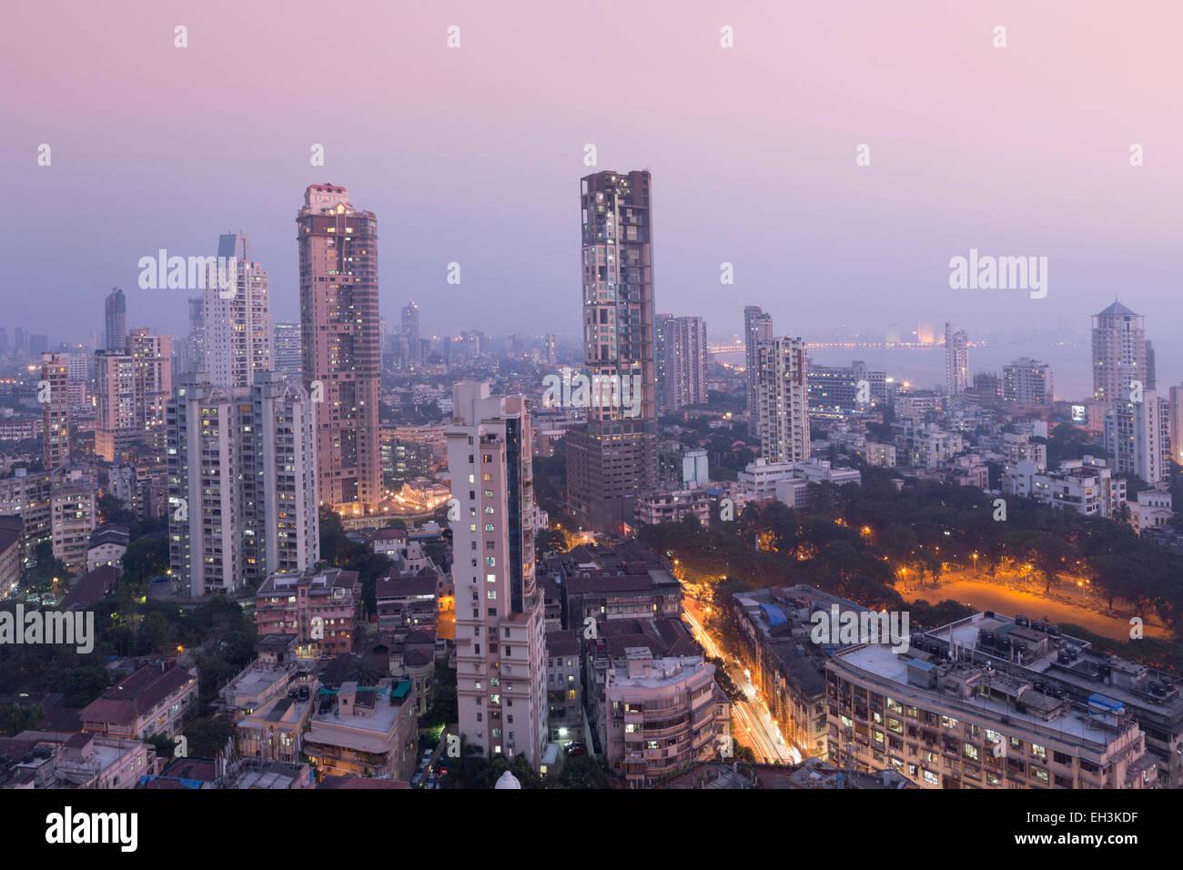 Mumbai skyline from Malabar Hill, Mumbai, Maharashtra, India, Asia - Stock Image