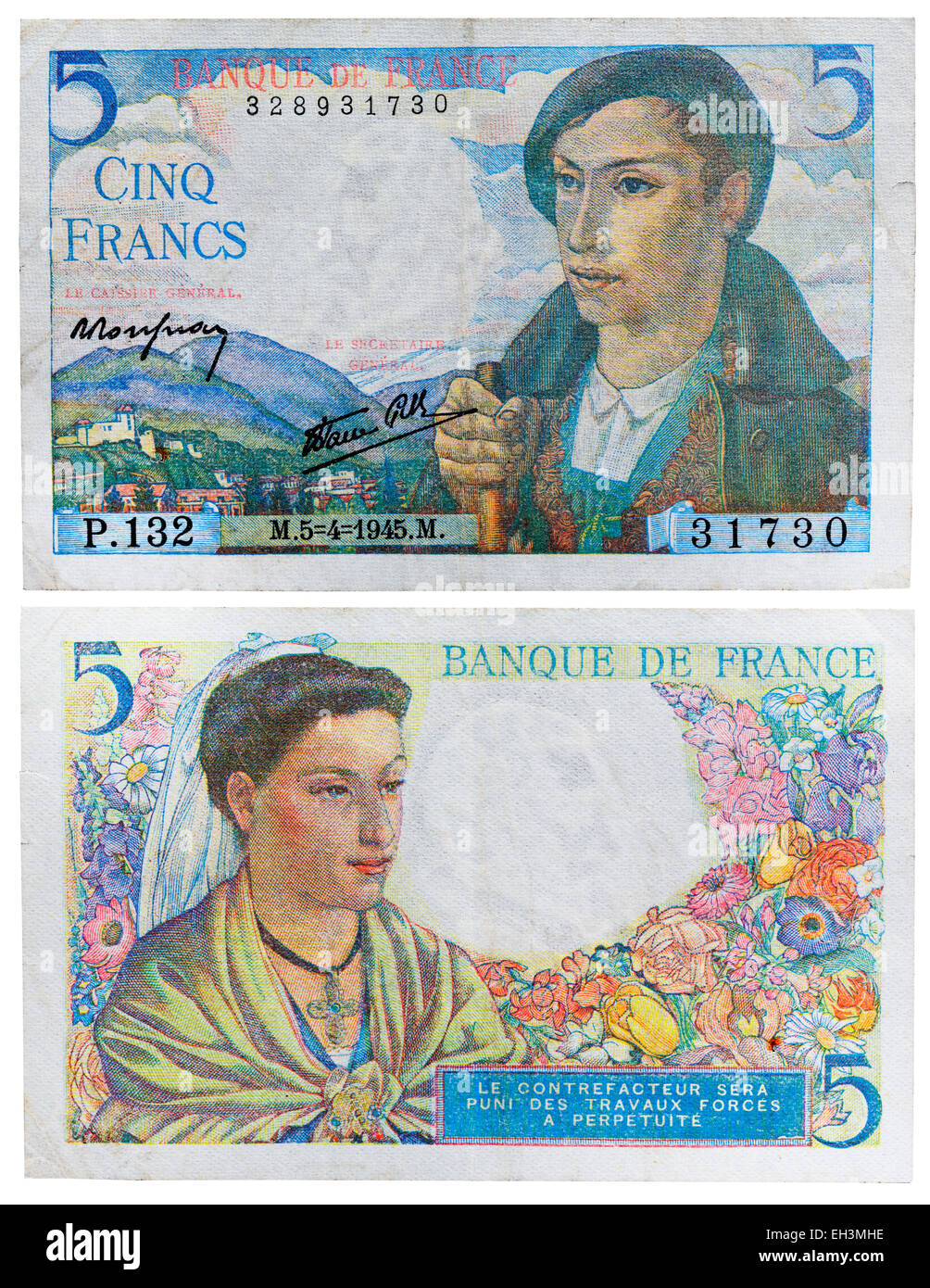 5 francs banknote, Pyrenean shepherd and Aquitaine woman, France, 1945 - Stock Image