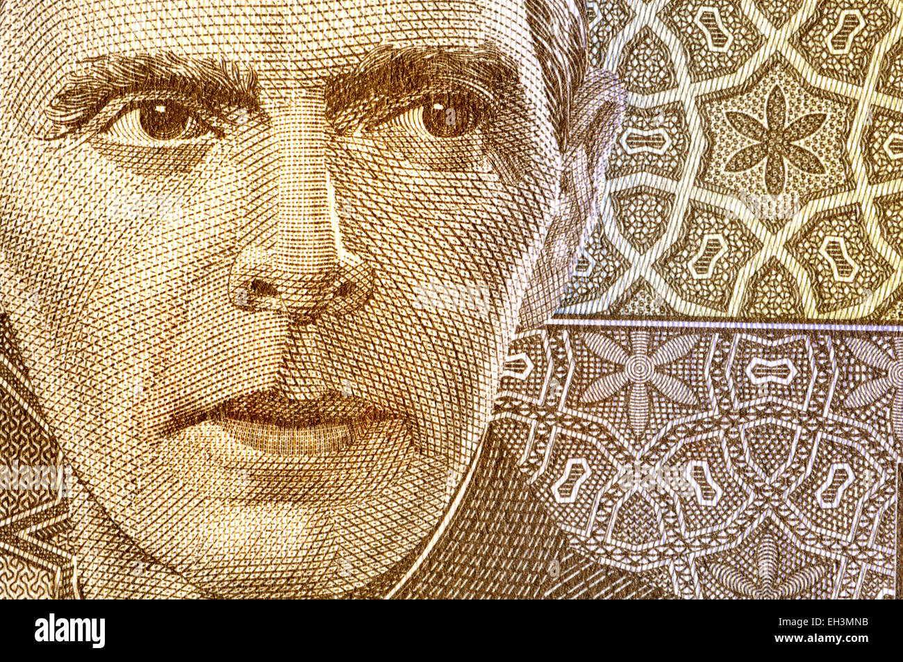 Detail from a 2009 Pakistan five rupee banknote showing Muhammad Ali Jinnah (1876-1948: founder of Pakistan) - Stock Image