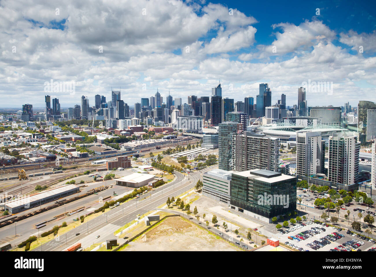 The expansive skyline of Melbourne on a clear summer's day in Victoria, Australia - Stock Image