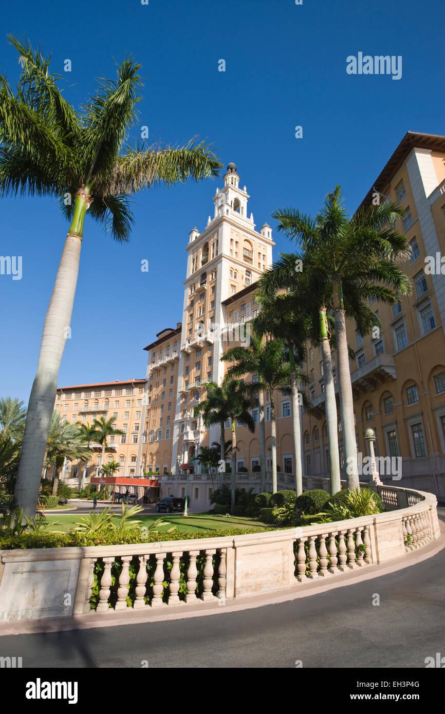 ENTRANCE DRIVEWAY HISTORIC BILTMORE HOTEL CORAL GABLES MIAMI FLORIDA USA - Stock Image