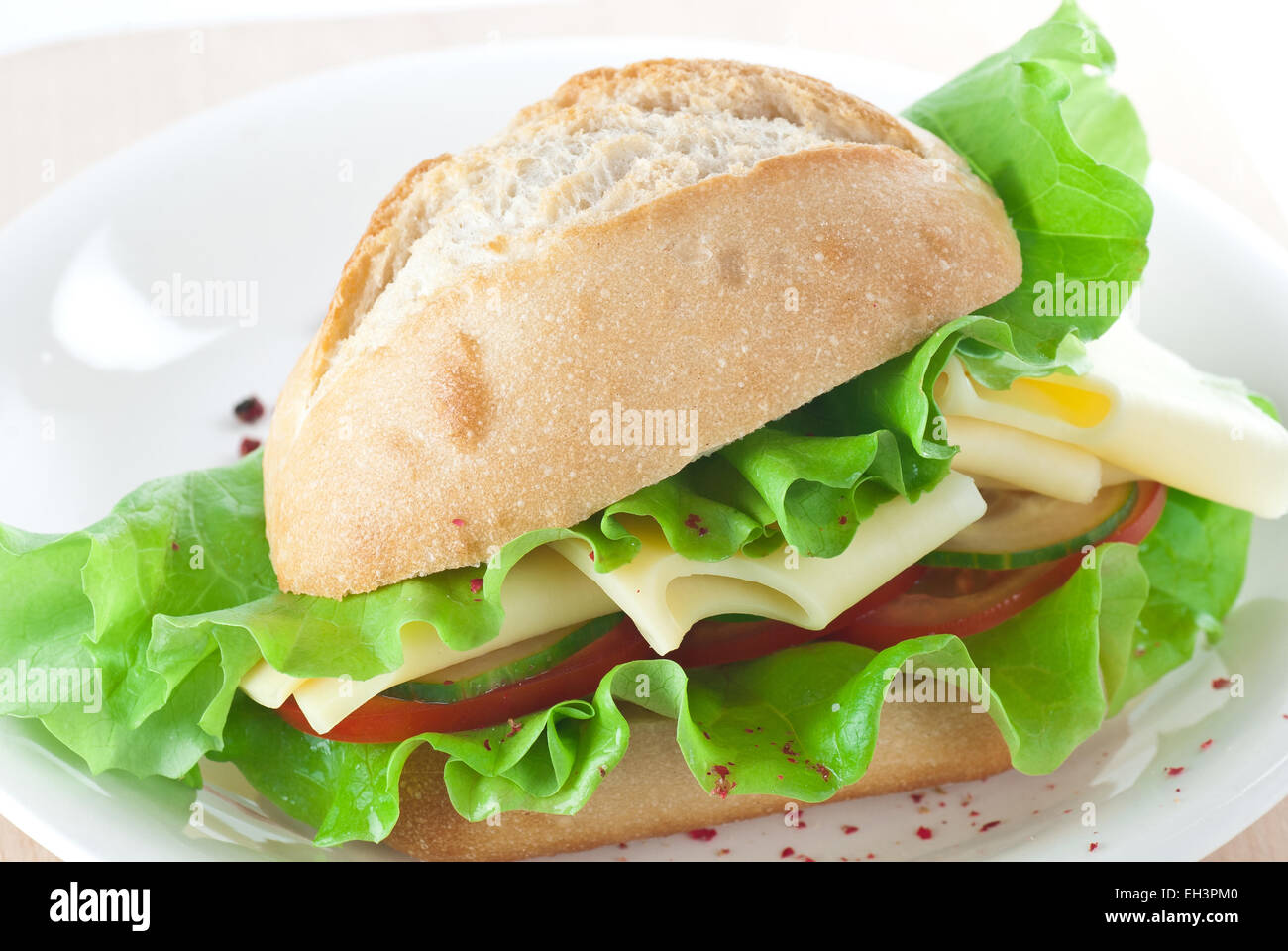 Cheese sandwich with tomato, lettuce and cucumber. - Stock Image