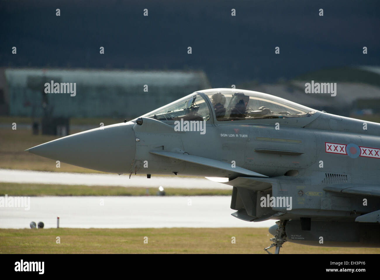 Single seat FRG4 Eurofighter Typhoon RAF Military Jet Aircraft, Lossiemouth Air Base, Moray . Scotland.  SCO 9622. - Stock Image