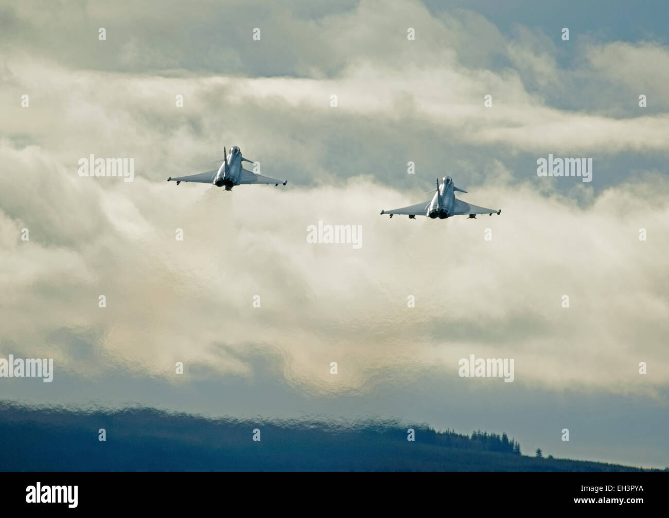 Apaired take off for a pair of Eurofighter Typhoon FRG4s based at RAF Lossiemouth air station, Moray. Scotland. - Stock Image