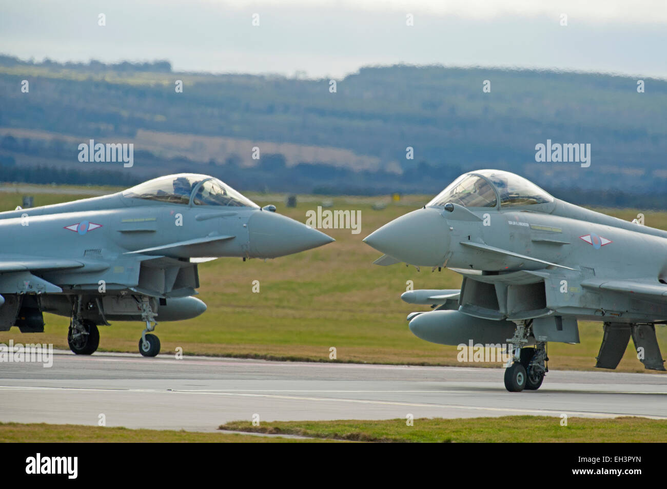 Nose to nose a pair of Eurofighter Typhoon FRG4s based at RAF Lossiemouth air station, Moray. Scotland.  SCO 9624. - Stock Image
