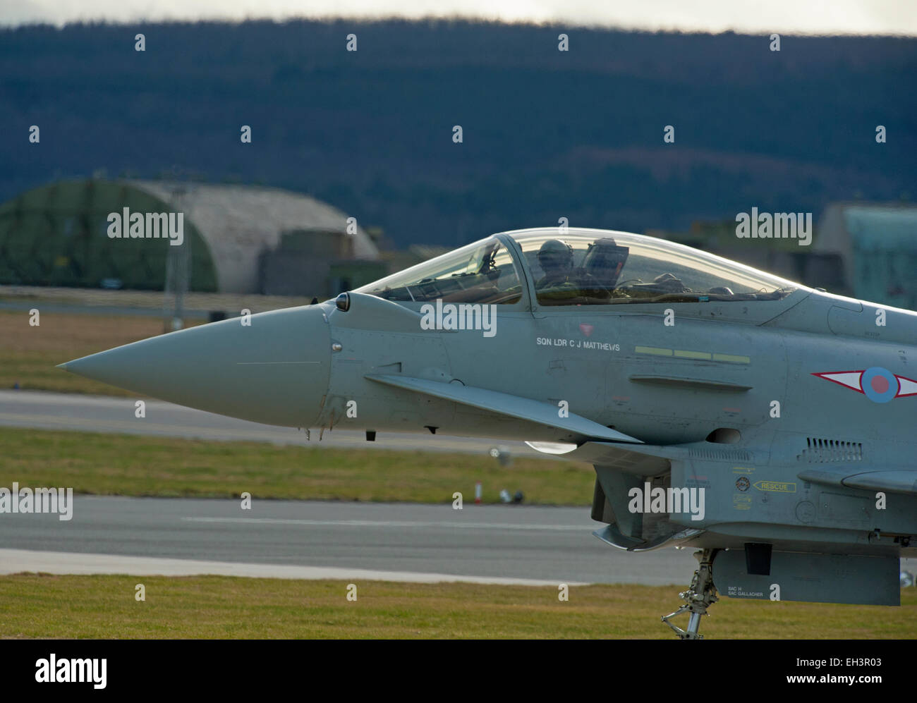 Single seat FRG4 Eurofighter Typhoon RAF Military Jet Aircraft, Lossiemouth Air Base, Moray . Scotland.  SCO 9625. - Stock Image