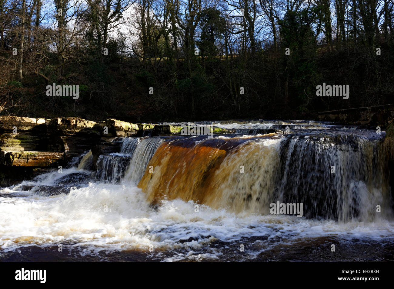 Fast flowing water over the Richmond Falls, Swaledale, Yorkshire, England - Stock Image