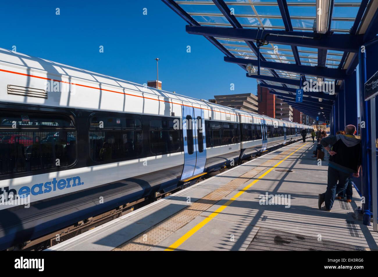 TRain at Platform 0ne 1 of tye of the new layout of gravesend station - Stock Image