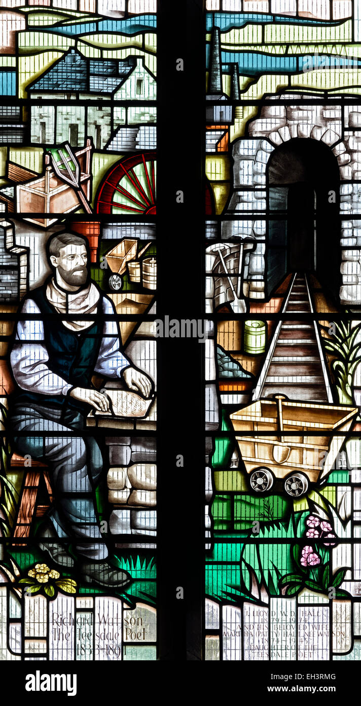 A commemorative stained glass window, in honour of Richard Watson the leadminer-poet, Middleton-in-Teesdale, County Stock Photo