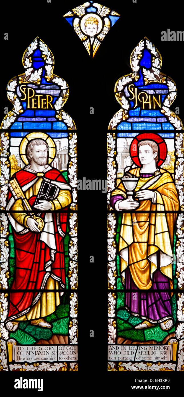 Stained glass celebrating a loving man, Benjamin Spraggon, Parish Church, Middleton-in-Teesdale, County Durham, - Stock Image