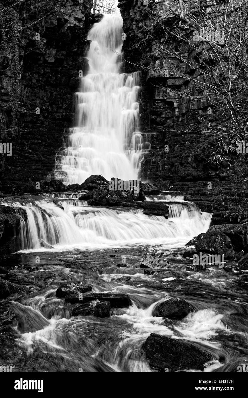Cascading winter water down Mill Gill Force near Askrigg, Wensleydale, North Yorkshire, England, UK Stock Photo