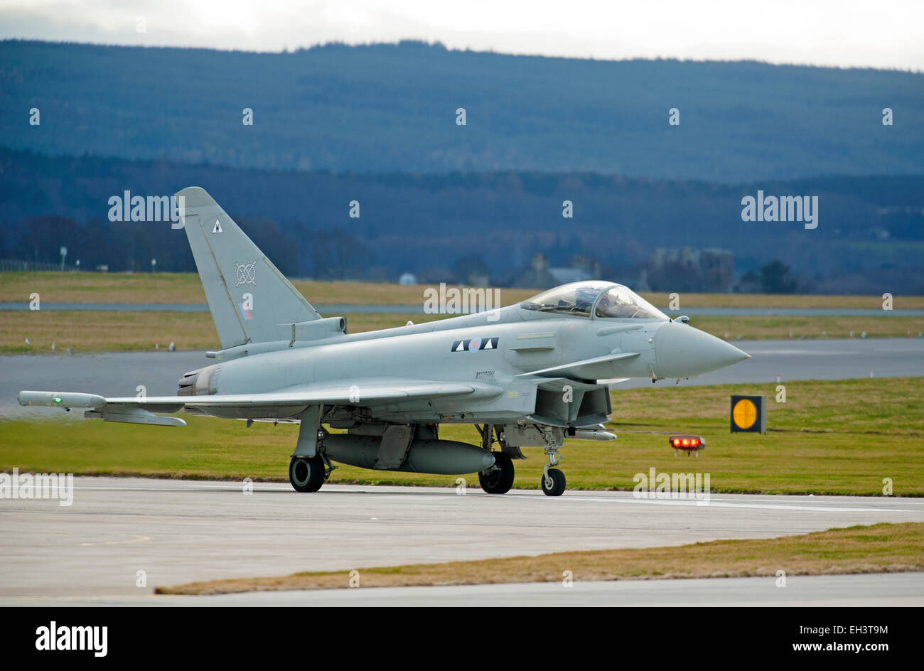 Eurofighter Typhoon FRG4 ZK313 (W) preparing for line up on runway 23 at RAF Lossiemouth, Moray. Scotland.  SCO - Stock Image