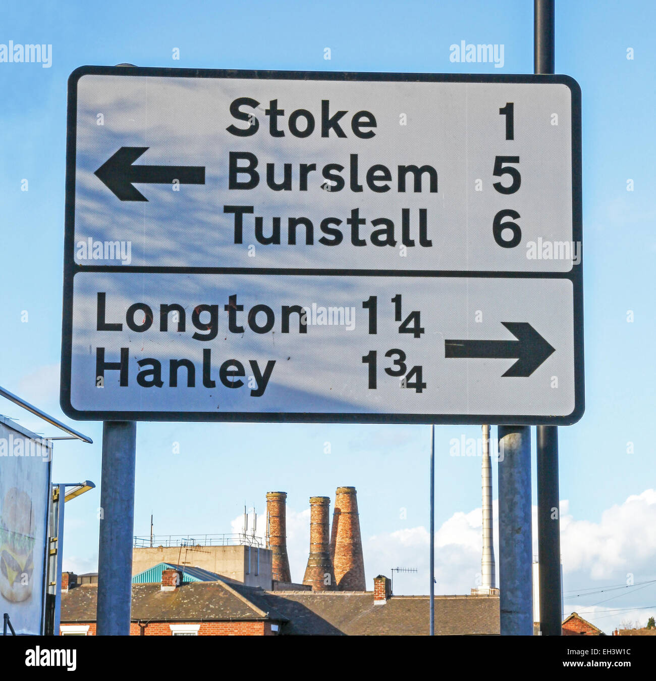 A street sign saying all the five towns of the Potteries, Stoke, Burslem, Tunstall Longton and Hanley at Fenton - Stock Image