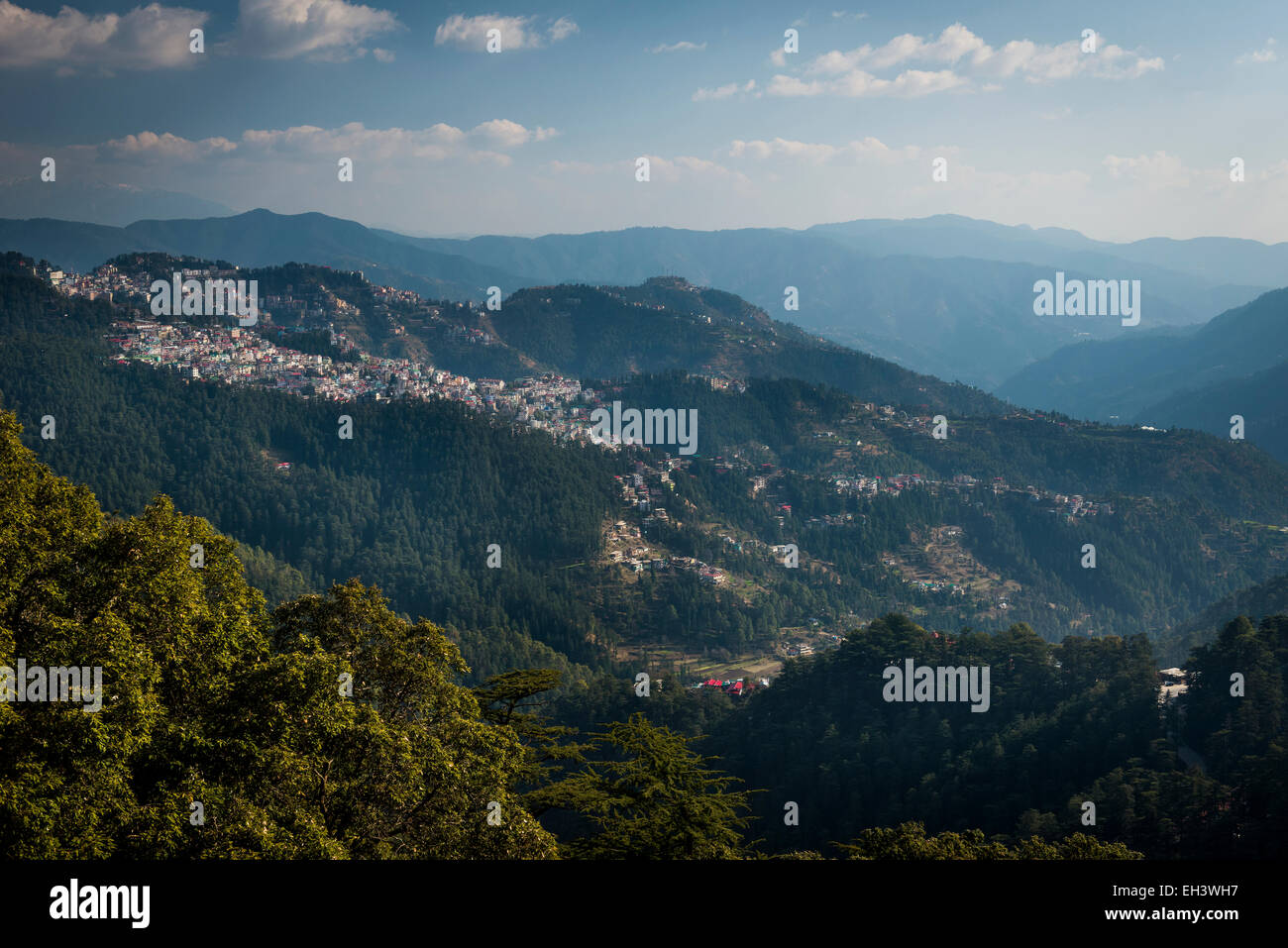 View of the outlying districts of Shimla in the Himalayan foot hills of Himachal Pradesh, India - Stock Image