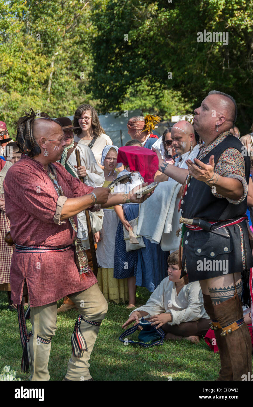 Traditional Cherokee Native American wedding ceremony conducted at Fort Boonesborough Kentucky Stock Photo