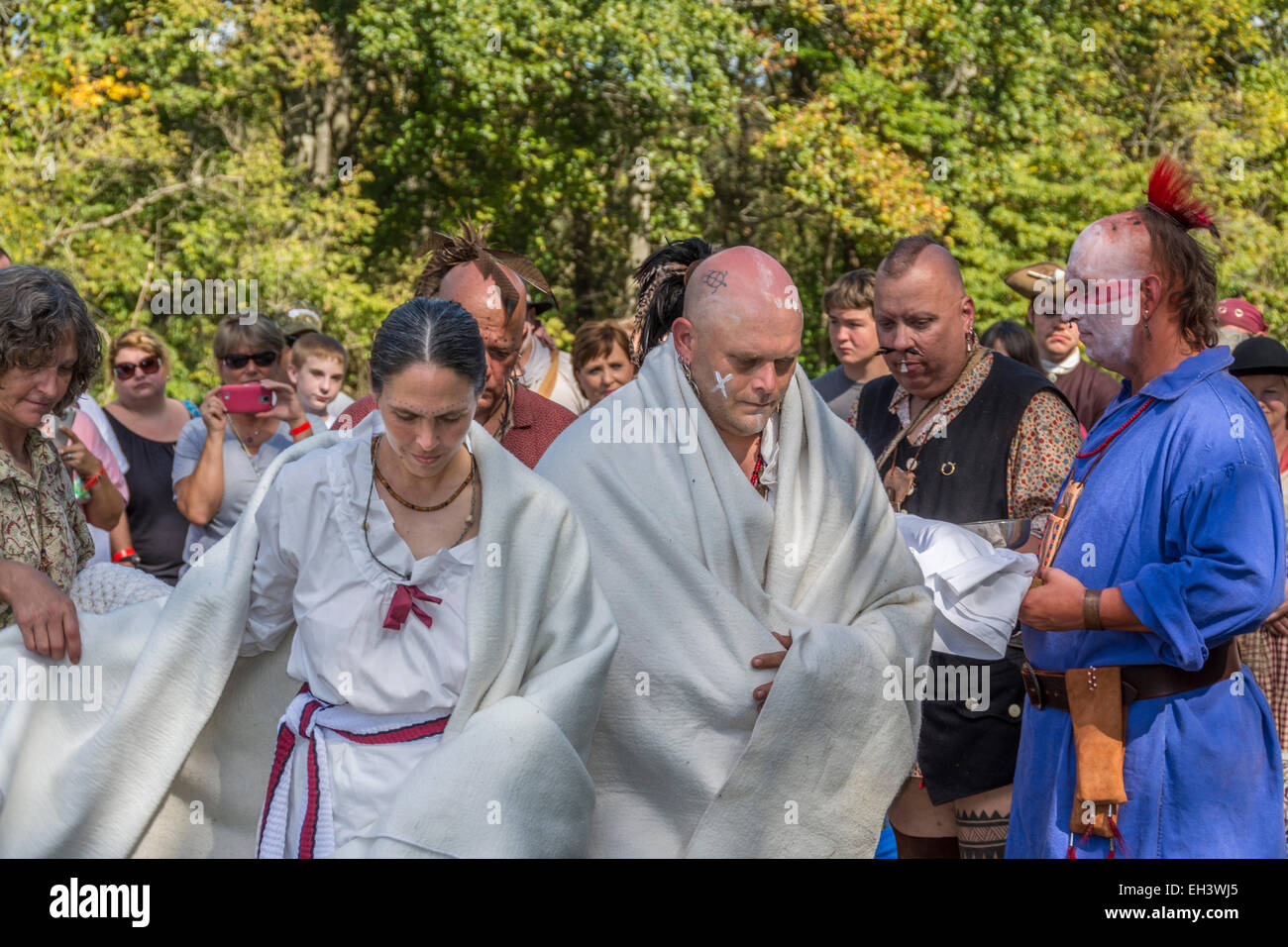 Traditional Cherokee Native American wedding ceremony conducted at