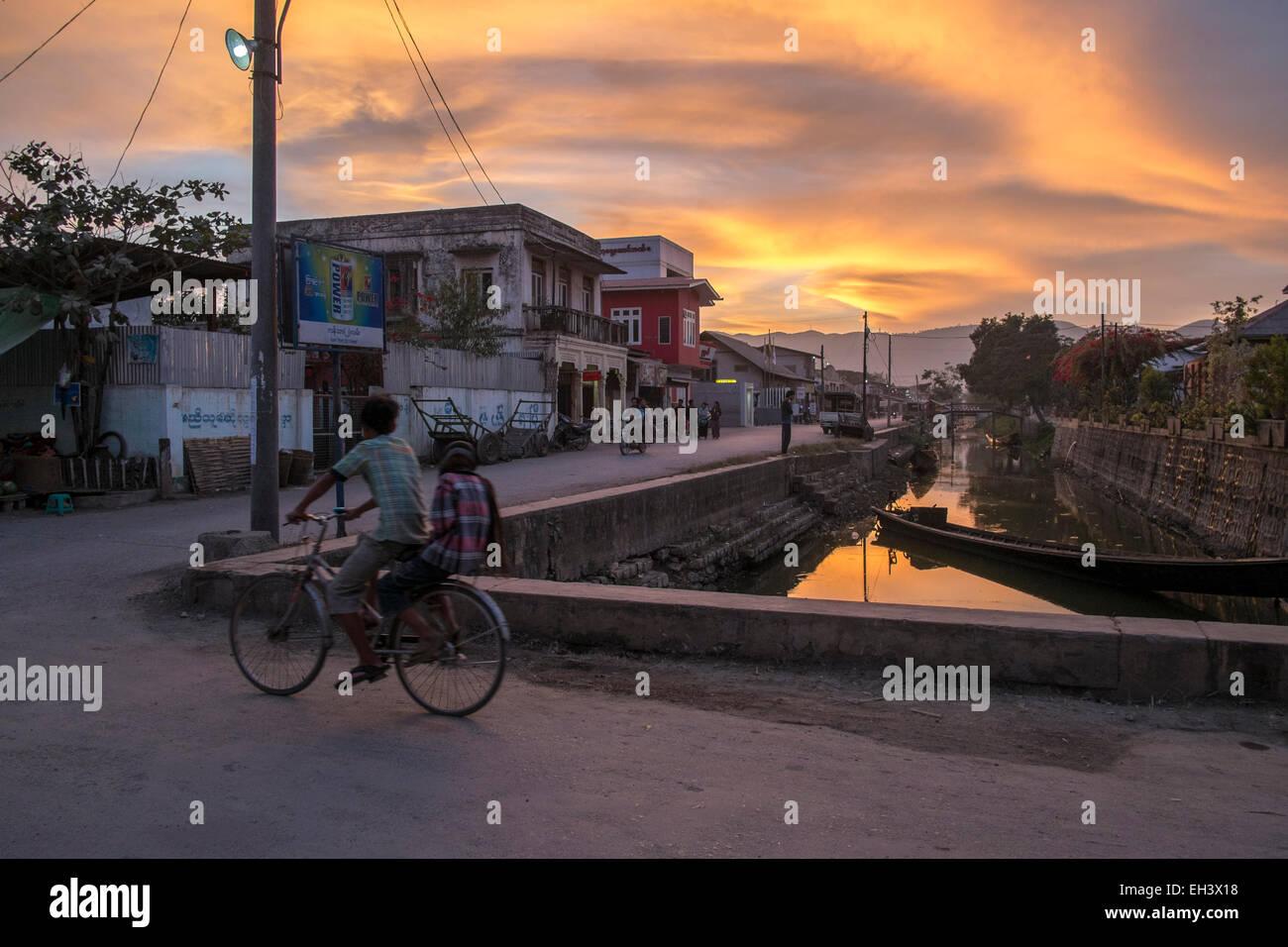 sunset in Nyaungshwe , Myanmar - Stock Image