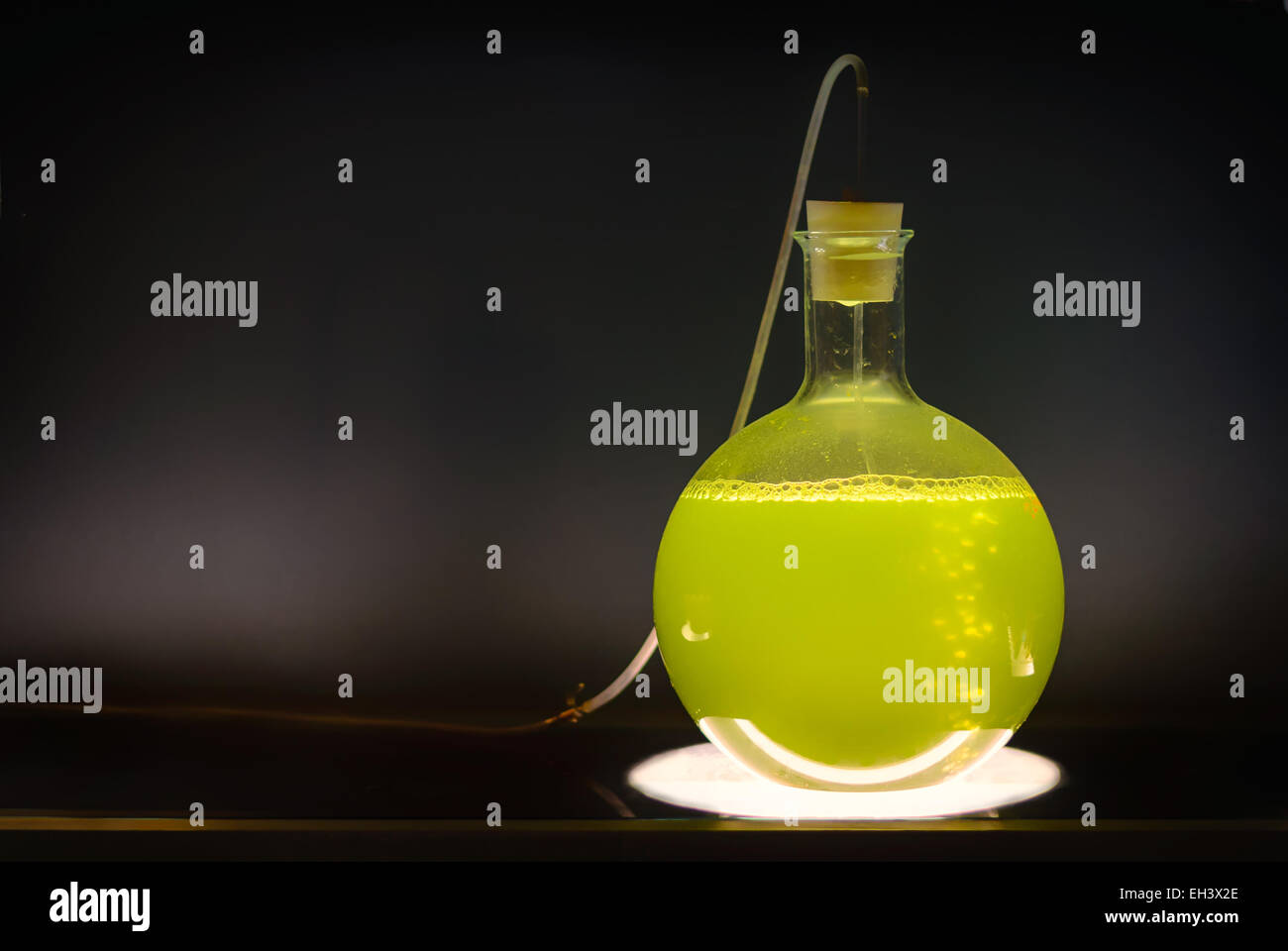 Volumetric flask with green liquid in experiment in dark room laboratory, chemical reaction, distillation. - Stock Image