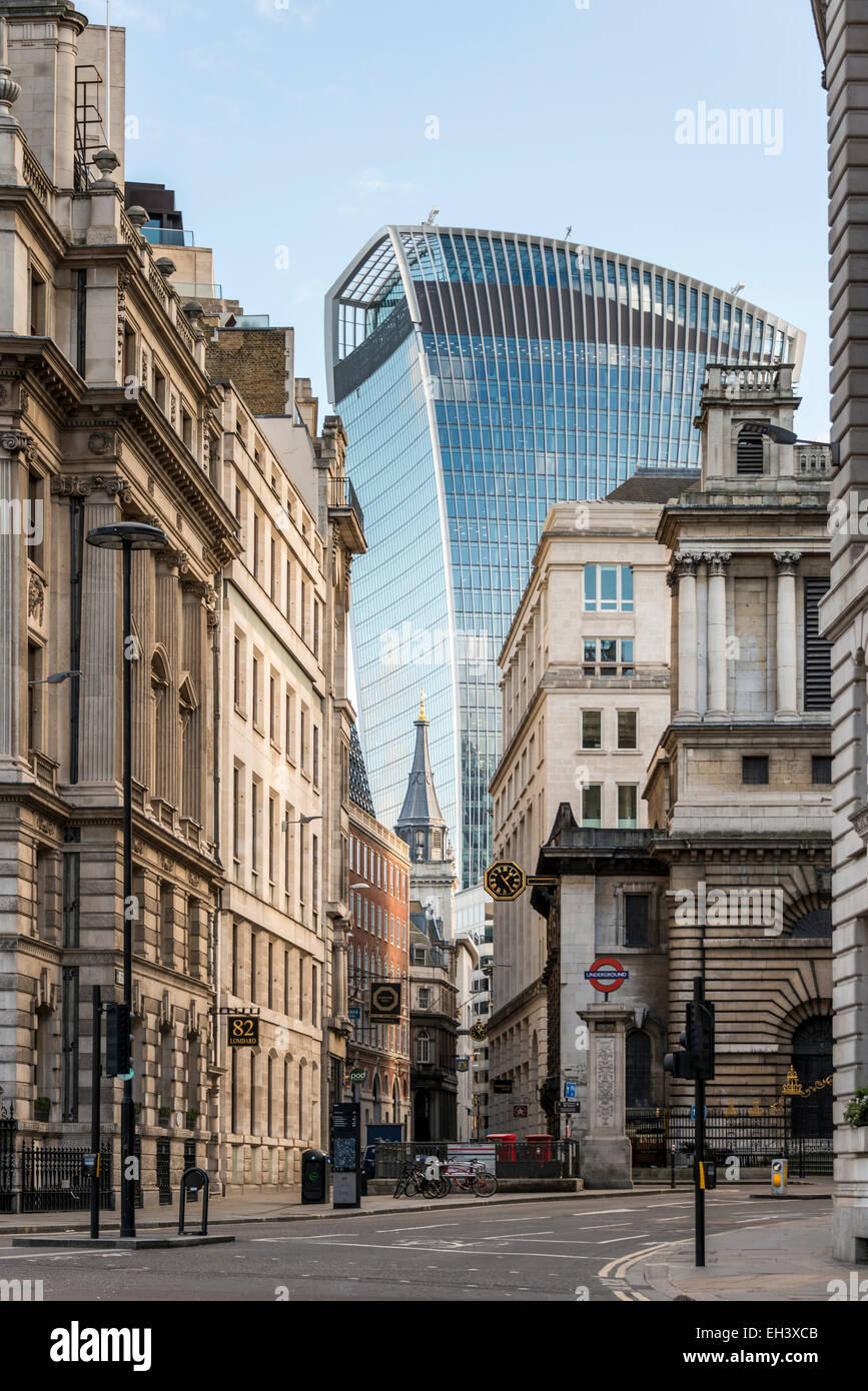 Views down King William Street and Lombard Street to the Walkie Talkie and St Mary Woolnoth church in the City of - Stock Image