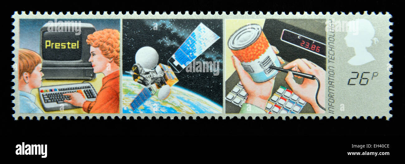 Postage stamp. Great Britain. Queen Elizabeth II. 1982. Information Technology. Modern Technological Aids. - Stock Image