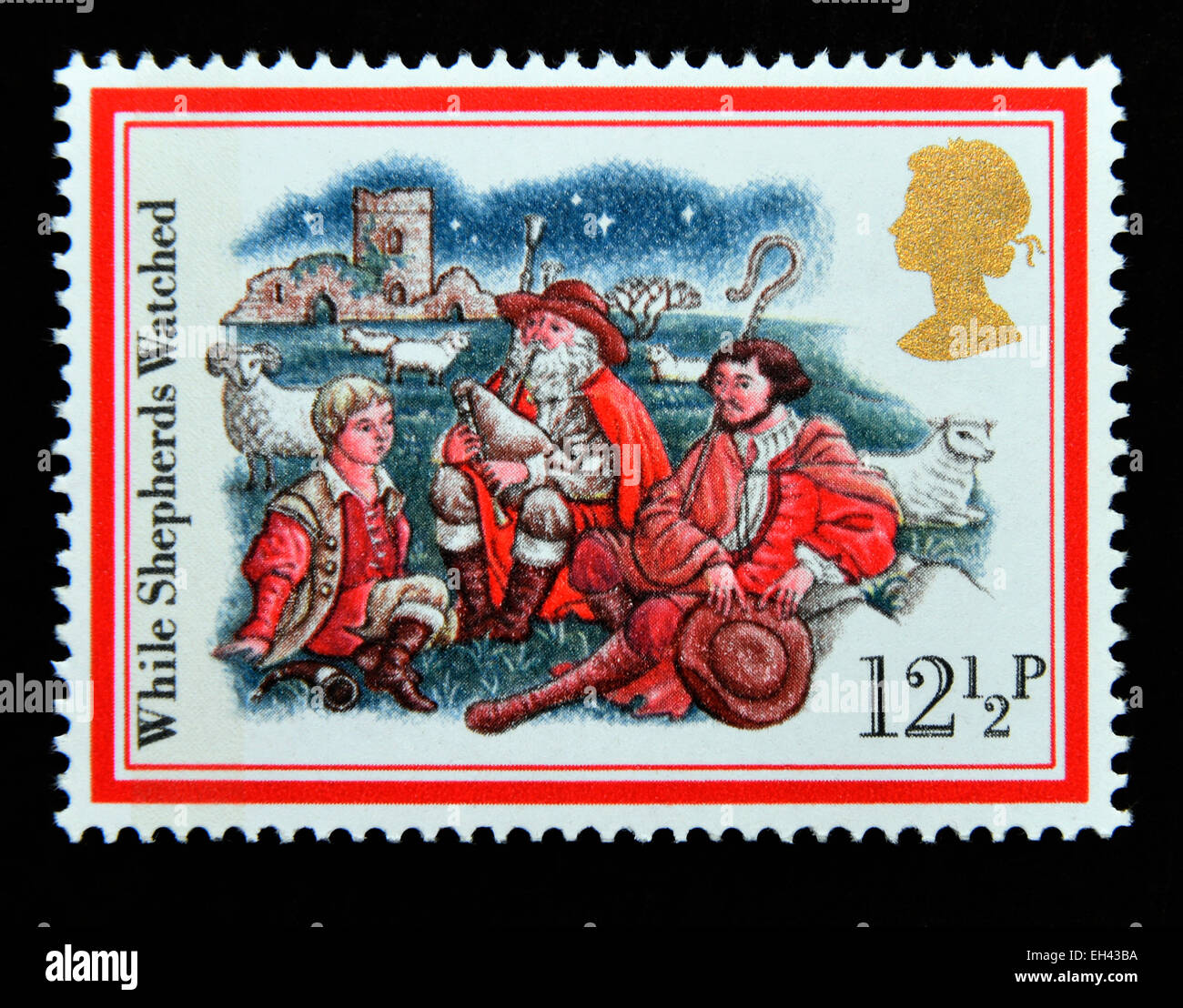 Postage stamp. Great Britain. Queen Elizabeth II. 1982. Christmas Carols 'While Shepherds Watched'. - Stock Image