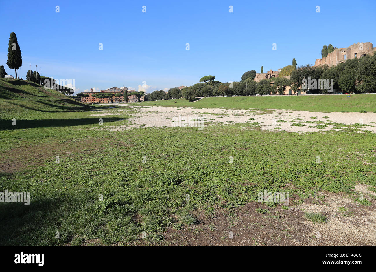 Italy. Rome. Circus Maximus. Ancient Roman chariot racing stadium. View. Ruins. - Stock Image