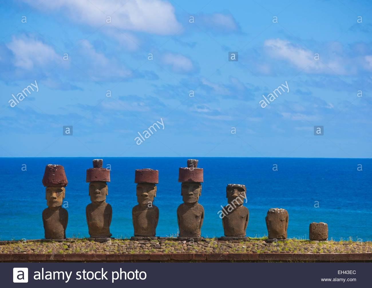 Chile, Easter Island (Rapa Nui), site listed as World Heritage by UNESCO, Ahu Nau Nau At Anakena Beach, was used - Stock Image