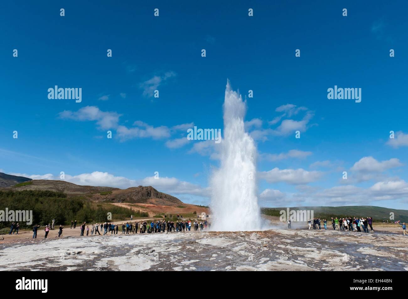 Iceland, Sudurland region, valley of Haukadalur, site of Geysir, the geyser Strokkur Stock Photo