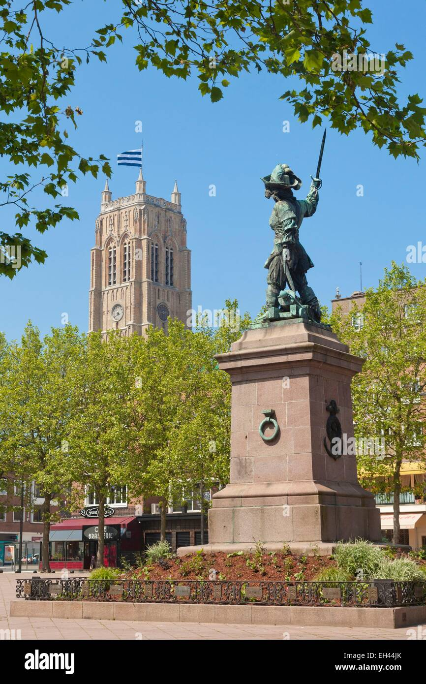 France, Nord, Dunkerque, statue of Jean Bart, Background Saint Eloi belfry listed as World Heritage by UNESCO - Stock Image
